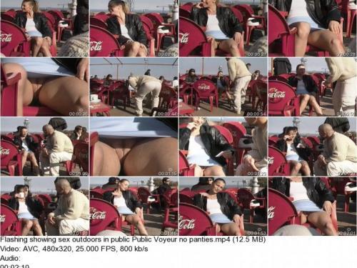 Flashing showing sex outdoors in public Public Voyeur no panties